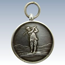 Antique English Sterling 1918 Golf Medallion Watch Fob