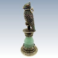 Antique Austrian Sterling, Jade,Jeweled Pearls, Bird Desk Seal, AMAZING!