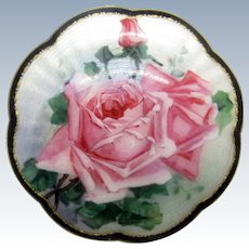 Antique Sterling Enamel Rose Brooch Pin, Heavy, Great Quality
