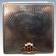 Antique Sterling and 14K Deco Jeweled Compact