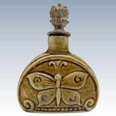 Antique Crown Top Butterfly Perfume Scent Bottle, Germany