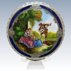Antique Silver and Enamel Scenic Man Serenading Ladies, Compact, Stunning!