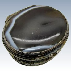 Antique Small Banded Agate and Moss Agate Pill Box, Sterling