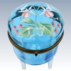 Antique Turquoise Blue Enamel Painted Dresser Jar with Fushia Flowers