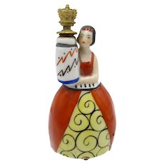 Antique Deco Girl in Orange and Yellow Dress Crown Top Perfume Scent Bottle
