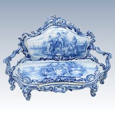 Vintage Amazing Blue and White Dutch Scenes Pottery Porcelain Couch Furniture with Drawer RARE!