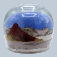 Vintage Scenic Sand Scene, Mountains, Glass