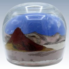 Vintage Scenic Sand Scene, Mountains, Glass