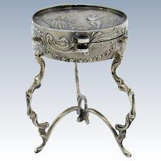 Antique Silver 800 Pill Box as Tambourine Table, Hanau