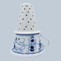 Antique Porcelain Large Strainer, Drainer, with Handle, Blue Onion Pattern