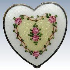Antique La Mode Sterling Heart Shaped Enamel Compact, All Original