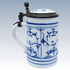 Antique Porcelain Blue Imortelli Beer Stein with Lithophane in Base