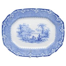Antique Blue & White Transfer Ware Staffordshire Romantic Scene C1850-60's Platter