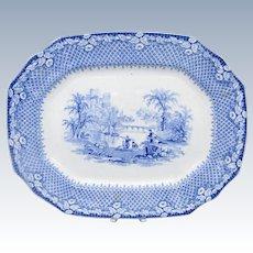 Antique Blue & White Transfer Ware Staffordshire Romantic Scene C1850-60's Platter
