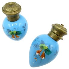 Antique Pair of Perfume Scent Bottles, Enamel Hand Painted, Blue Glass Brass Top