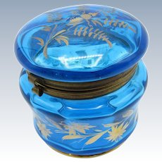 Antique Turquoise Blue Dresser Vanity Jar with Gold Accents