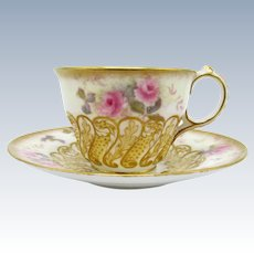 Antique Stunning Roses Cup and Saucer with Raised Gold Scroll Work