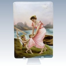 Antique Hand Painted Tile with Lady, Cherub, Bow, Quiver, Lake