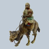 Antique Cold Painted Vienna Bronze Woman & Child Riding a Camel
