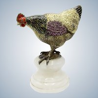 Antique Austrian Enamel, Sterling & Jeweled Rooster, Chicken on Marble Stand
