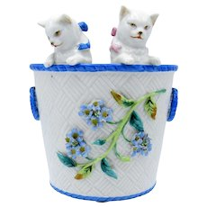 Antique Double Cats, Kitties, Kitty in Basket, with Flowers