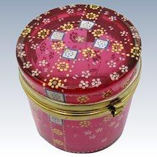Antique Cranberry Enamel Decorated Moser Style Dresser Jar