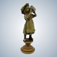 Antique Vienna Bronze Young Girl Drinking From a Cup
