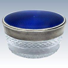 Antique French Sterling and Enamel Cut Glass Dresser Jar