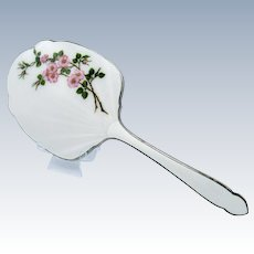 Antique ENAMEL AND SILVER Flower Pattern Hand Mirror, English
