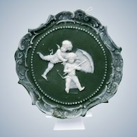 Antique Green Jasper Ware Plaque Cherubs on Sled with Umbrella
