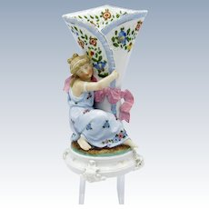 Antique Conta and Boehm Lady with Vase, Hand Painted, Ribbon