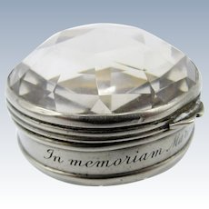 Antique Faceted and Silver Crystal Pill Box, Owned by Countess, 1926