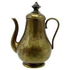 Antique Brass Teapot, Twist to Wind, Tape Measure