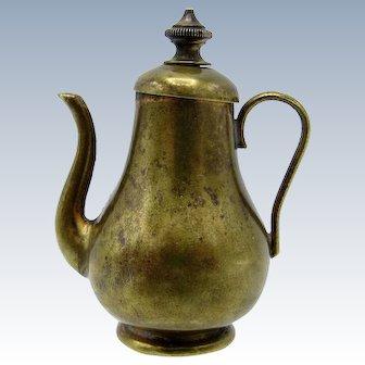Antique Brass Teapot, Twist to Wind, Tape Measure