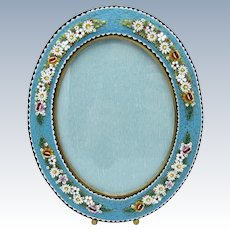 Antique Micro Mosaic Turquoise Oval Picture Photo Frame with Raised Flowers