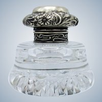 Antique Sterling and Cut Glass Inkwell, Puffy Top Pattern