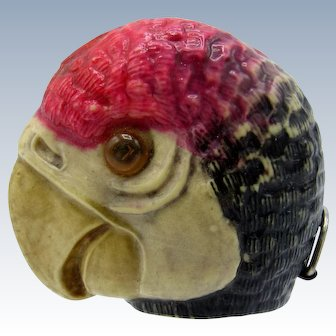 Antique Parrot Head with Glass Eyes, Celluloid Tape Measure