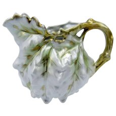 Antique Royal Bayreuth White Oak Leaf Lustre Creamer