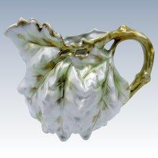 Antique Royal Bayreuth White Oak Leaf Lustre Creamer