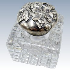 Antique Stunning Gorham Sterling and Glass Dogwood Flowers Inkwell