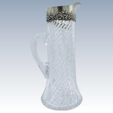 Antique Tall Cut Glass and Mauser Sterling Pitcher