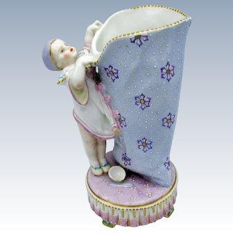 Antique Porcelain Vase, Pierrot Clown with Large Bag, Great Details