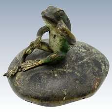 Antique Vienna Bronze Cold Painted Frog on Stone Paperweight
