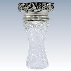 Antique Cut Glass and Gorham Sterling Rim Vase
