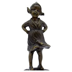 Antique Signed German BRONZE by JH Land, Dutch Girl on Plinth, CUTE!