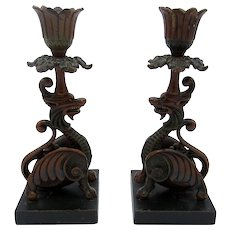 Antique Cold Painted Metalware Asian Dragon Gargoyles, Candlesticks