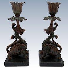 Antique Cold Painted Metalware Asian Dragon Gargoyles, Candlesticks