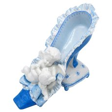 Antique French Porcelain Blue and White Cherubs and Shoe, Pillow