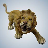 Antique Cold Painted Vienna Bronze LARGE Lion