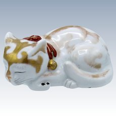 Antique Japanese Kutani Kitty Cat, Gold Accents, Bells, Made in Japan